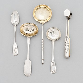 Five pieces of Russian silver cutlery, ca. 1896-1926.
