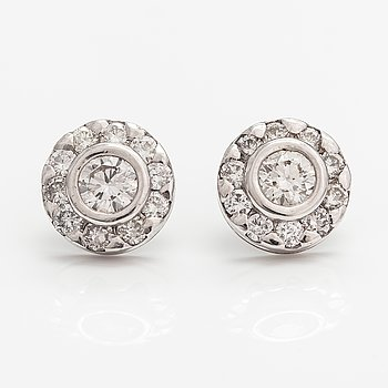 A pair of 14K white gold earrings with diamonds ca. 2.00 ct in total. ITD, Espoo.