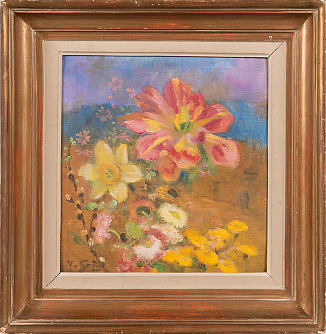 Venny soldan-brofeldt, oil on canvas panel, signed.