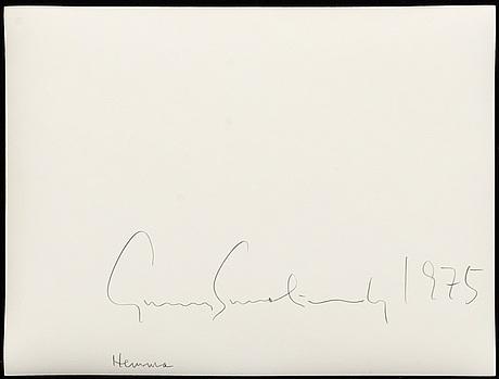 Gunnar smoliansky, silvergelatinfotografi, signerad och daterad 1975 a tergo.