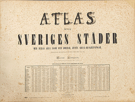 """Gustaf ljunggren, atlas öfver sveriges städer...""""  högbergska boktryckeriet, stockholm 1862."""
