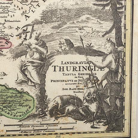 Johann baptist homann, karta kolorerat kopparstick 1700-tal.