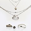 Silver jewellery 5 pieces, 2 necklaces and 2 rings by stig nolin, helsingborg, bangle marked le båstad 2003.