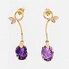 Oval briolette cut amethyst and brilliant-cut diamond earrings.