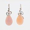 Pink opal, pink tourmaline, aquamarine and brilliant-cut diamond earrings.