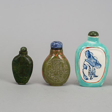 A group of seven stone, ceramic and porcelain snuff bottles, qing dynasty and china, 19th-20th century.