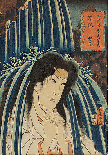 Kuniyoshi (1797/98-1861), and utagawa kunisada i (toyokuni iii), three coloured woodblock prints, japan, 19th century.