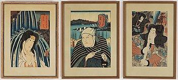 Kuniyoshi (1797/98-1861), samt Utagawa Kunisada I (Toyokuni III), färgträsnitt, 3 st, Japan, 1800-tal.