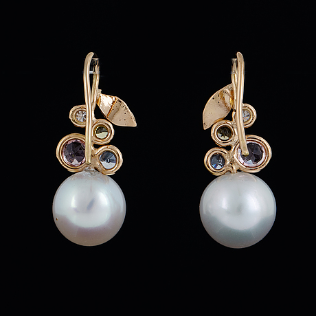 Saltwater pearl, pink tourmaline, sapphire and brilliant-cut diamond earrings.