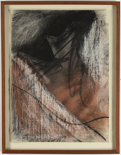 Claes hake, mixed media on paper, signed.