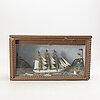 Diorama/båtmodell, sjömansarbete, 1920-1930-tal.
