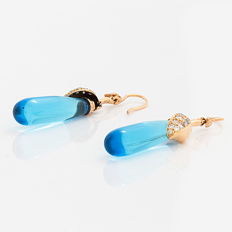 Colour treated blue quartz drop and brilliant-cut diamond earrings.