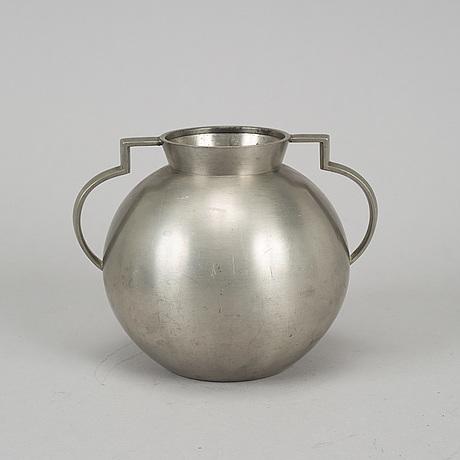 A 1930's pewter vase, stockholm, numbered 57/150.