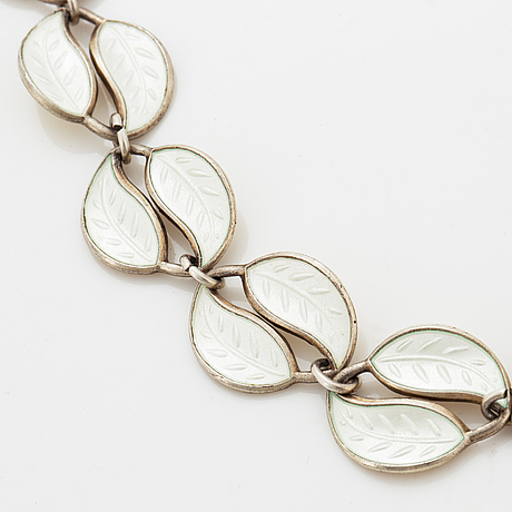 Two silver and enamel necklaces, david andersen, norway, 1950/60's.