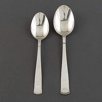 Jacob Ängman, a set of 12+6 silver spoons, GAB.