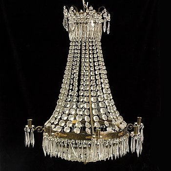 A Gustavian style chandelier from around the year 1900.