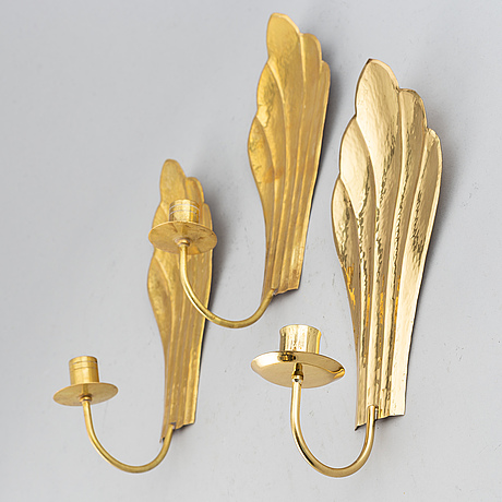 Five brass wall sconces by lars holmström, arvika, second half of the 20th century.