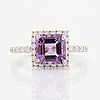 Amethyst and brilliant-cut diamond ring.