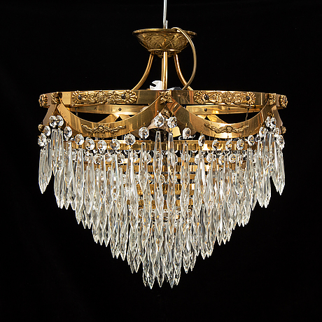 An end of the 20th century ceiling light with prisms.