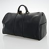 Louis vuitton, a black epi leather keepall bag.