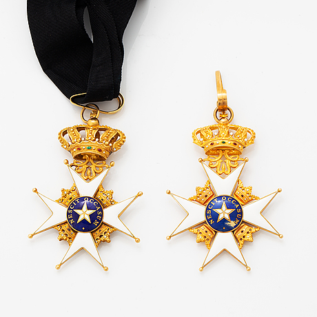 Order of the north star, two commander's crosses. gilt silver and enamel.