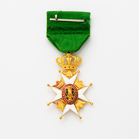 Order of the vasa, knigth's cross, gold and enamel, in box, cf carlman, stockholm.