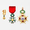 Isabel la catolica, commanders cross and legion of honor, knight's cross, with miniatures.
