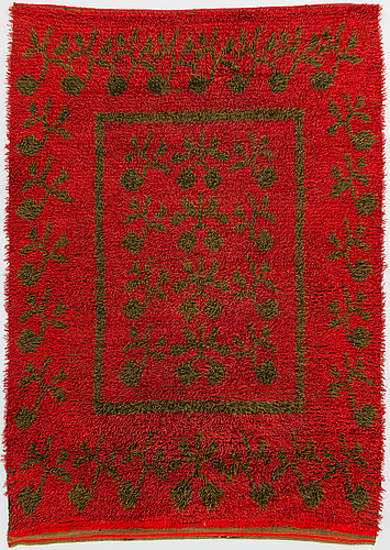 A mid-19th century finnish long pile rug. circa 190x140 cm.