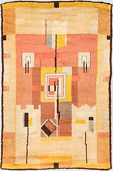 A Finnish 1930's long pile rug. Circa 190x130 cm.