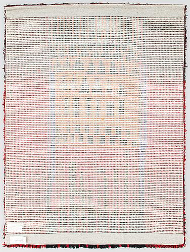 Leena-kaisa halme, a finnish long pile rug for kotikutomo veikko koskinen. circa 155x115 cm.