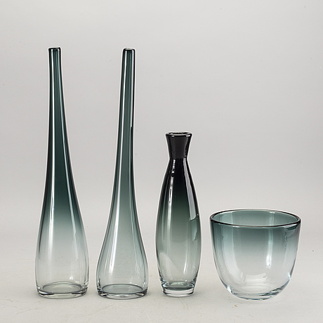 A set of four 1950:s glass pieces 'tona' by bengt orup för johansfors glass factory, sweden.
