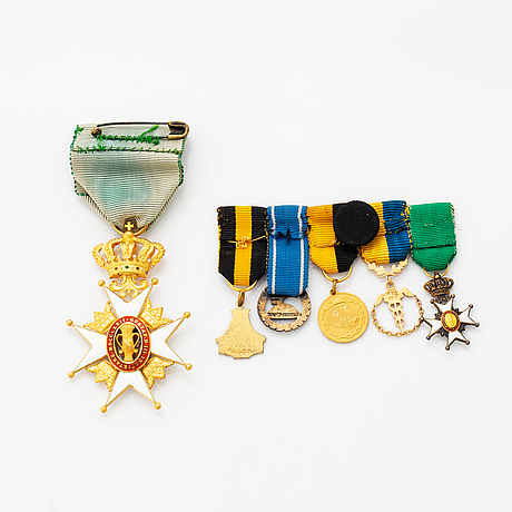 Order of the vasa, knight's cross, gold and enamel, with 5 miniatures.