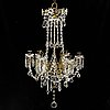 A brass and glass chandelier, early 20th century.