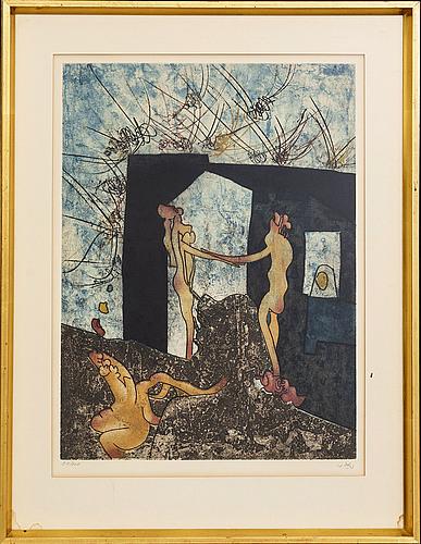 "Roberto matta, a set of eight etchings in colour signed 21/100 ""la danse de la mort""."