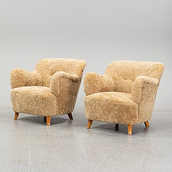 A pair of scandinavian armchairs from the 1930's/40's.