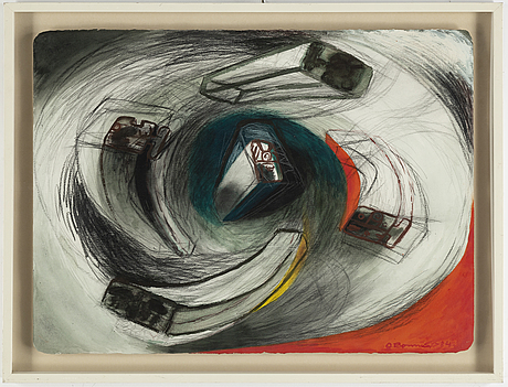 Olle bonniér, mixed media, signed, dated -84.