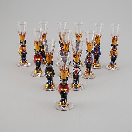 Gunnar cyrén, twelve 'nobel' vodka glasses, orrefors.