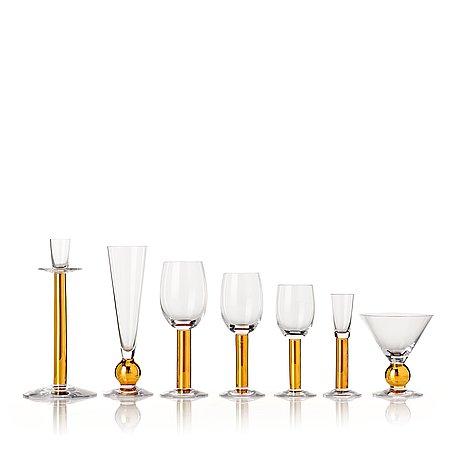 "Gunnar cyrén, a 73 pieces ""nobel"" glass service, orrefors, sweden post 1991."