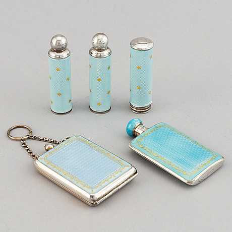 Five silver and enamel accessories, including david andersen, norway early 20th century.
