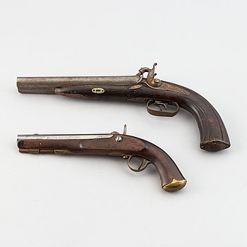 A Swedish postillion's percussion pistol, 1852 pattern and a db reworked pistol.