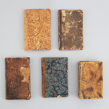 Five 18th century swedish religious books.