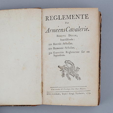 A swedish book on the army cavalry, 1779.