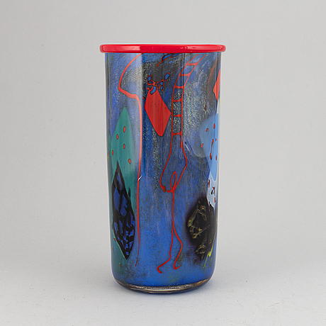 Sven-åke carlsson, a unique glass vase, signed.