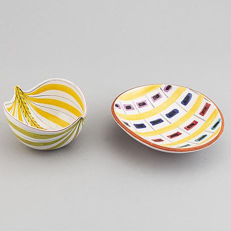 Stig lindberg, two faiance bowls, gustavsberg studio, sweden.