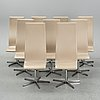 Arne jacobsen, a set of 9 'oxford' leather chairs for fritz hansen.