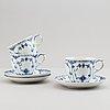 Royal copenhagen, a 36 part porcelain service, 'musselmalet' one part meissen.