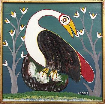 An 1970:s Seymond George Mpata so called Tingatinga- painting, bicycle paint on masonite, signed.
