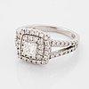 Square modified brilliant-cut diamond ring.