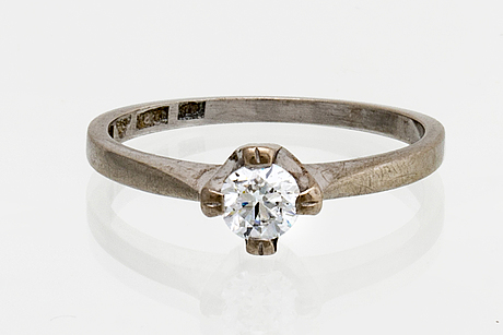 Ring 18k whitegold 1 brilliant-cut diamond approx m,25 ct.