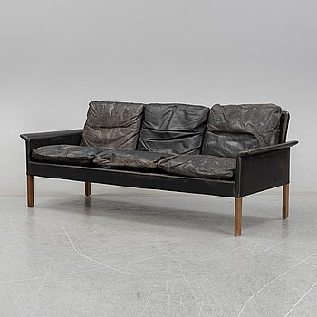 A Scandinavian leather sofa, 1960's.